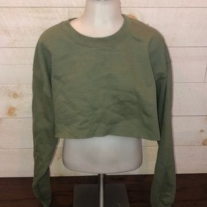 Prettylittlething Olive Cropped Crewneck Sweater
